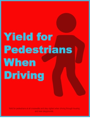 The pedestrian safety graphic is part of a larger driving safety campaign Aug. 25, 2019, on F.E. Warren Air Force Base, Wyo., to raise awareness of good driving practices and lower safety concerns on base. (U.S. Air Force graphic by Senior Airman Abbigayle Williams)