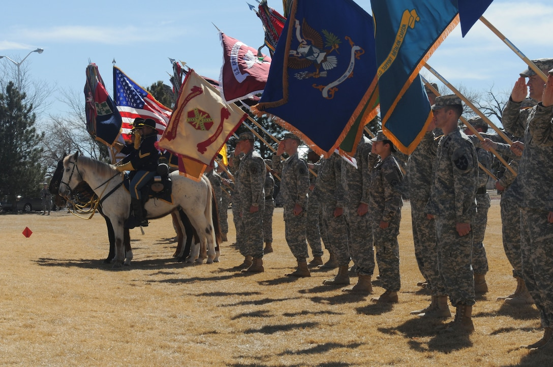 Service members holding flags stand in a line.