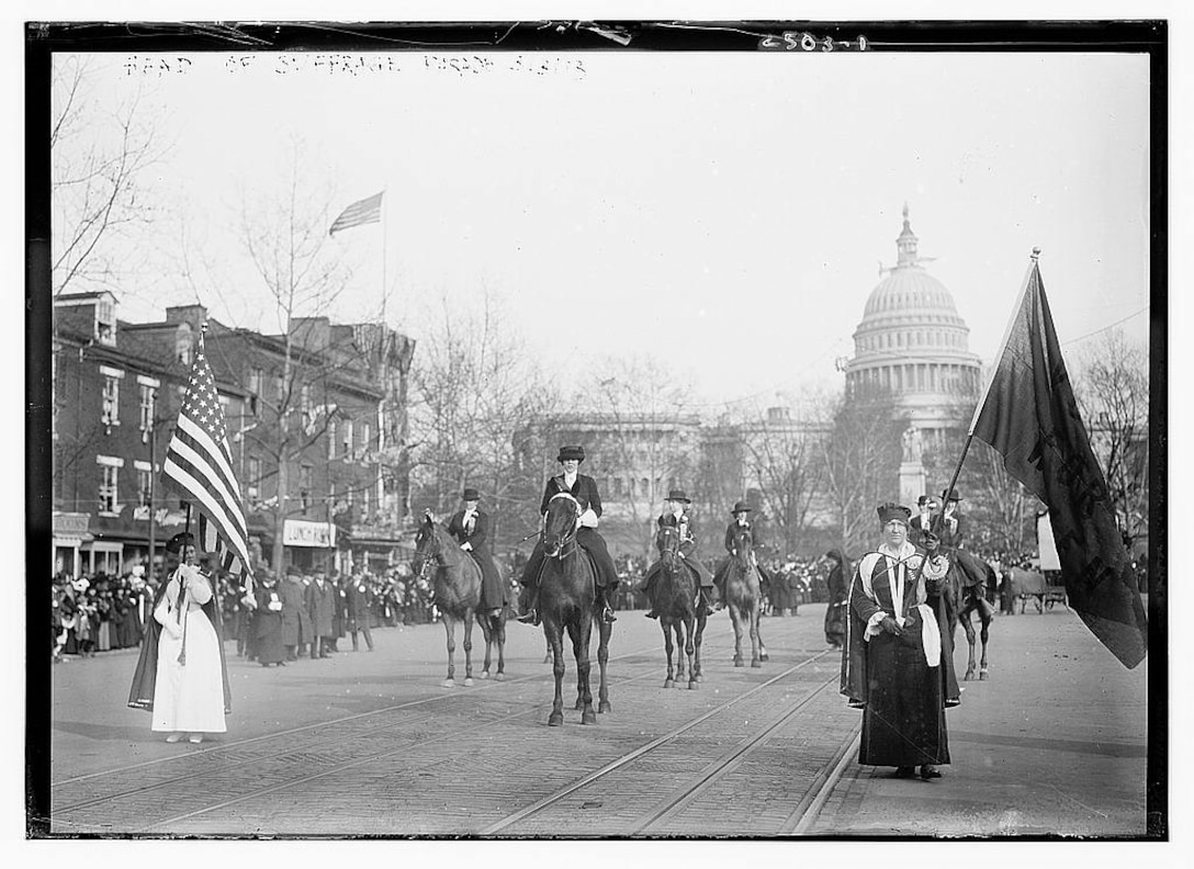 Congressional Union for Women's Suffrage supporters marched on Pennsylvania Avenue the day before President Woodrow Wilson's inauguration.
