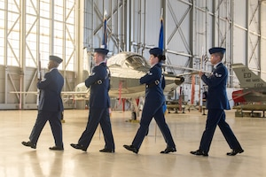 U.S. Air Force Honor Guard presents colors during change of command ceremony