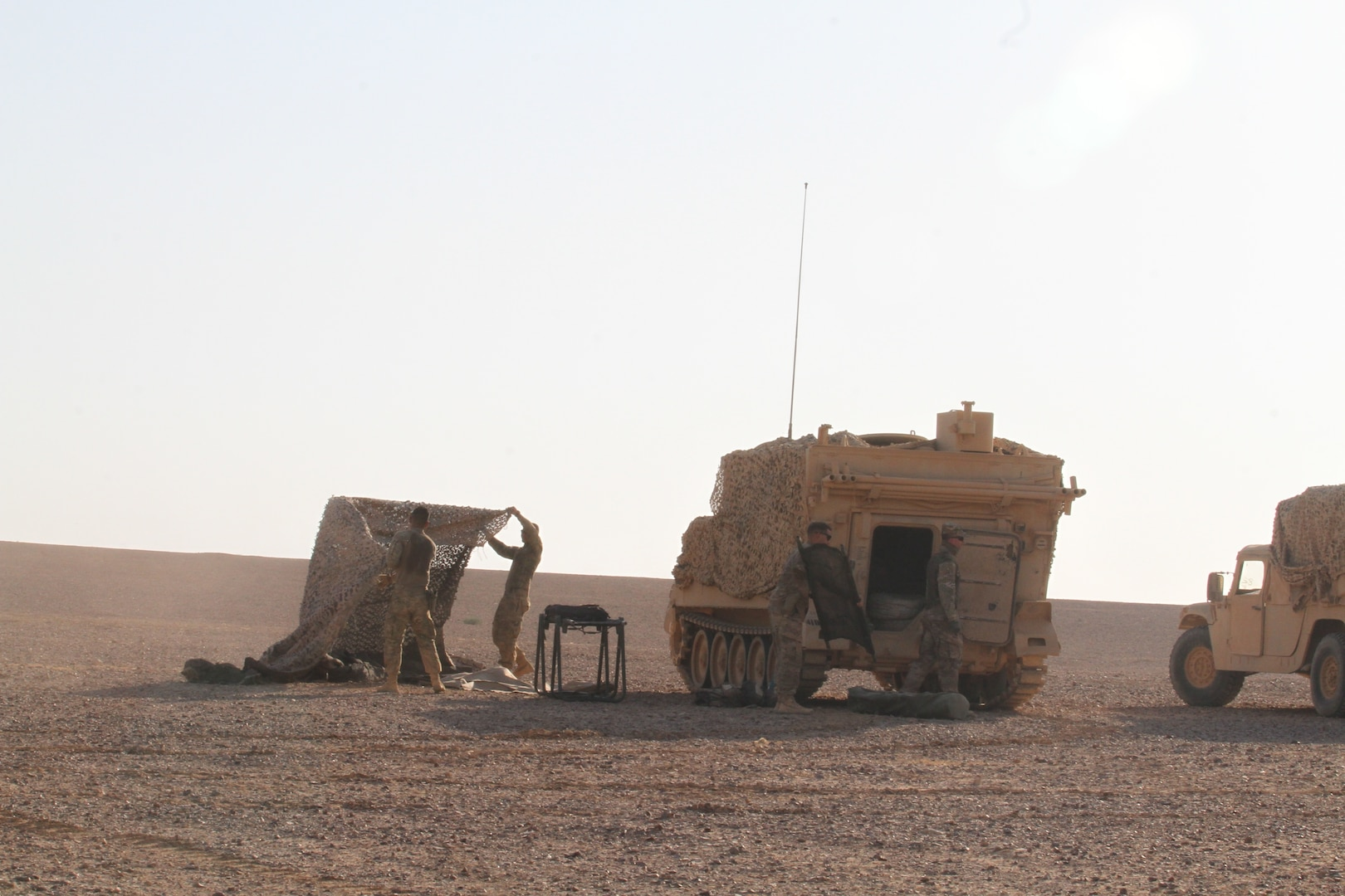 Soldiers with the Medical Platoon, Headquarters and Headquarters Company, 1st Battalion, 68th Armor Regiment, 3rd Armored Brigade Combat Team, 4th Infantry Division, Task Force Spartan set up a role one medical station Aug. 24, 2019, in Jordan as part of their preparations for exercise Eager Lion 19. This multinational exercise is U.S. Central Command's premiere exercise in the Levant region and is a major training event that provides U.S. forces, Jordan Armed Forces and 28 other participating nations the opportunity to improve their collective ability to plan and operate in a coalition-type environment. (U.S. Army Reserve photo by Sgt. Zach Mott)