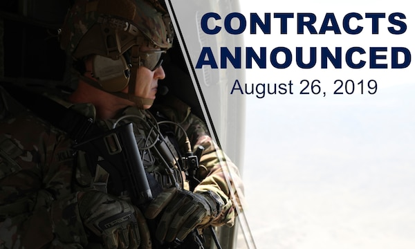 "Soldier stares out of flying aircraft. Text on photo reads ""Contracts announced August 26, 2019."