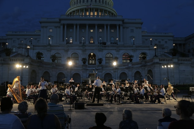 On Aug. 1, 2018, the Marine Band performed music by John Philip Sousa, Bert Appermont, Harold Arlen, and Antonín Dvořák on the west terrace of the U.S. Capitol in Washington, D.C. (U.S. Marine Corps photo by Master Sgt. Kristin duBois/released)