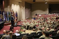 William Marriott, Army Aviation and Missile Command deputy to the commanding general, welcomes more than 200 Soldiers and Army Civilians attending AMCOM 101 for Aviation, Aug. 20-22, at the command headquarters on Redstone Arsenal.