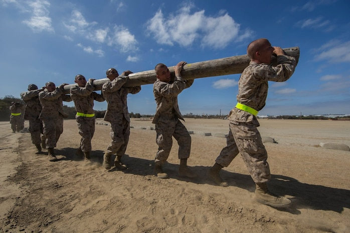 Recruits with Charlie Company, 1st Recruit Training Battalion, carry a log during a log drill exercise at Marine Corps Recruit Depot San Diego, Aug. 19.