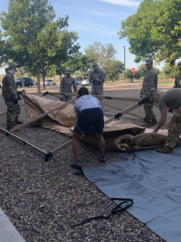 U.S. Air Force Airmen set up an Air Transportable Clinic August 17, 2019, on Mountain Home Air Force Base, Idaho. Setting up the ATC gave medics an opportunity to see what challenges they may face before they are deployed. (Courtesy photo)