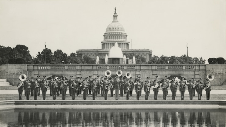 The AAF Band, at 54 members, led by Lt. Alf Heiberg, on the US Capital Grounds, Washington D.C., 1942