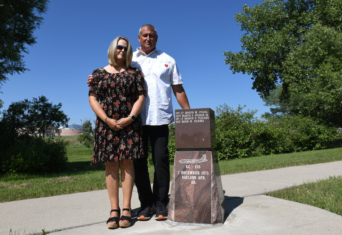 Jeff Wandel and his wife, Sandi, visit Ellsworth's Memorial Park on Ellsworth Air Force Base, S.D., on July 30, 2019. In December 1975, Wandel and three of his fellow crewmembers – Capt. Martin E. Graham Jr., Capt. Joseph M. Furda and 1st Lt. Karwin M. Plucker – passed away in a plane crash just south of Eielson Air Force Base, Alaska. Wandel's family spent several years searching for a memorial plaque dedicated to Wandel and his crew. (U.S. Air Force photo by Airman 1st Class Christina Bennett)