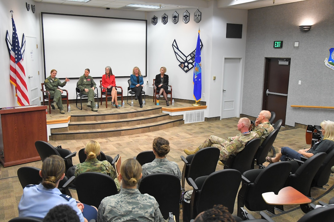 """Col. Regina """"Torch"""" Sabric, 419th Fighter Wing commander, speaks at the Women's Equality Day panel discussion"""