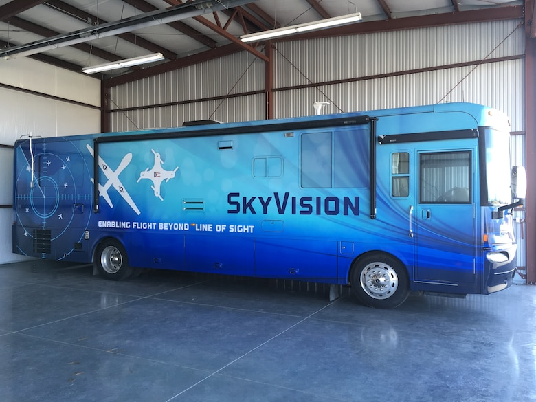 The SkyVision detection system is housed within a mobile recreational vehicle unit envisioning the day when SkyVision will be able to travel to the point of need rather than being restricted to a specific location. The SkyVision RV will be on display in a booth area at the Air Traffic Controllers Association 64th Annual Conference and Exposition in Washington, D.C. in October. (Courtesy photo)