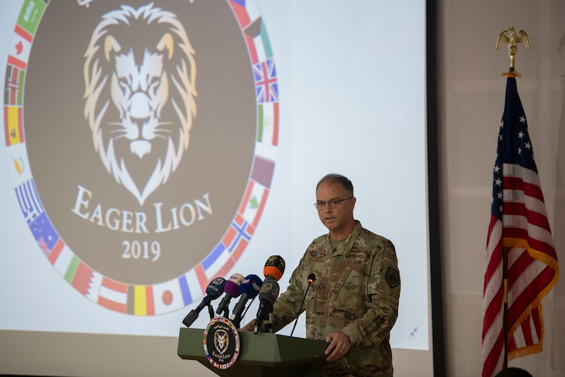 U.S. Air Force Maj. Gen. Brad Swanson, U.S. Central Command's Director of Exercises and Training, addresses the audience at a press conference for Eager Lion 19 at King Abdullah II Special Operations Training Center (KASOTC), Jordan, Aug. 25, 2019. Eager Lion 19 is a multilateral exercise hosted by the  Kingdom of Jordan, consisting of a total of 30 nations from around the world, designed to exchange military expertise and improve interoperability among partner nations.