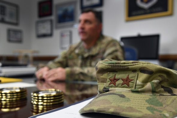 A hat belonging to U.S. Air Force Maj. Gen. Timothy Leahy, Second Air Force commander, is on display during an interview inside his office on Keesler Air Force Base, Mississippi, Aug. 14, 2019. Leahy will retire on Dec. 1 with more than 34 years of military service. Throughout his career, Leahy held positions at the major command, sub-unified combatant command and geographic and functional combatant command levels. He also commanded at the squadron, wing, center and numbered Air Force level. Additionally, Leahy is a command pilot with more than 3,200 hours of flight time, primarily in Special Operations Forces aircraft. (U.S. Air Force photo by Kemberly Groue)