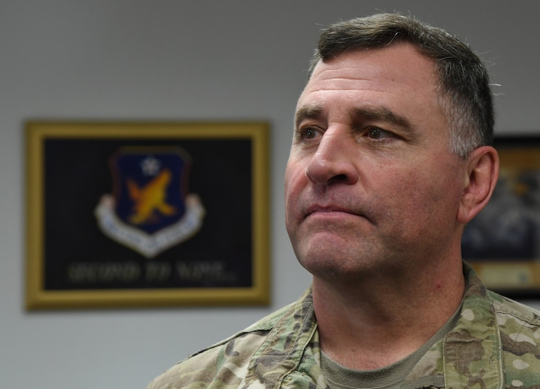 U.S. Air Force Maj. Gen. Timothy Leahy, Second Air Force commander, poses for a photo in his office on Keesler Air Force Base, Mississippi, Aug. 14, 2019. Leahy will retire on Dec. 1 with more than 34 years of military service. Throughout his career, Leahy held positions at the major command, sub-unified combatant command and geographic and functional combatant command levels. He also commanded at the squadron, wing, center and numbered Air Force level. Additionally, Leahy is a command pilot with more than 3,200 hours of flight time, primarily in Special Operations Forces aircraft. (U.S. Air Force photo by Kemberly Groue)