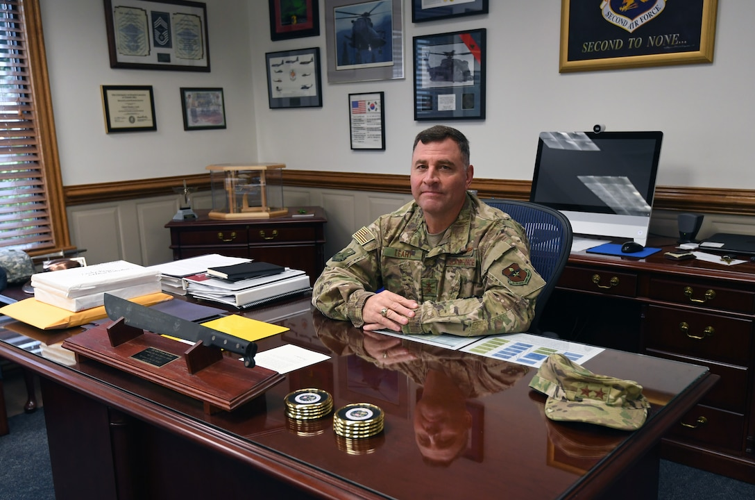 U.S. Air Force Maj. Gen. Timothy Leahy, Second Air Force commander, poses for a photo at his desk on Keesler Air Force Base, Mississippi, Aug. 14, 2019. Leahy will retire on Dec. 1 with more than 34 years of military service. Throughout his career, Leahy held positions at the major command, sub-unified combatant command and geographic and functional combatant command levels. He also commanded at the squadron, wing, center and numbered Air Force level. Additionally, Leahy is a command pilot with more than 3,200 hours of flight time, primarily in Special Operations Forces aircraft. (U.S. Air Force photo by Kemberly Groue)