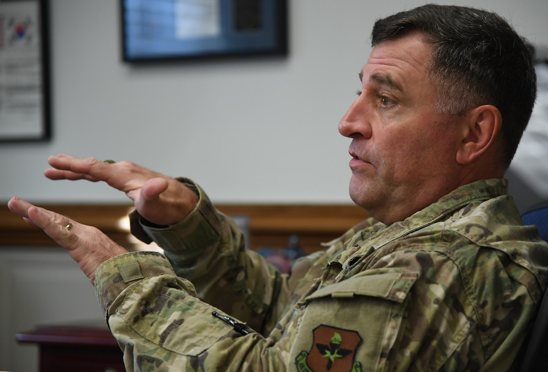 U.S. Air Force Maj. Gen. Timothy Leahy, Second Air Force commander, delivers remarks during an interview inside his office on Keesler Air Force Base, Mississippi, Aug. 14, 2019. Leahy will retire on Dec. 1 with more than 34 years of military service. Throughout his career, Leahy held positions at the major command, sub-unified combatant command and geographic and functional combatant command levels. He also commanded at the squadron, wing, center and numbered Air Force level. Additionally, Leahy is a command pilot with more than 3,200 hours of flight time, primarily in Special Operations Forces aircraft. (U.S. Air Force photo by Kemberly Groue)