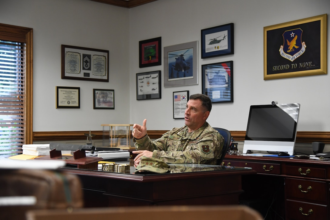 U.S. Air Force Maj. Gen. Timothy Leahy, Second Air Force commander, delivers remarks during an interview inside his office on Keesler Air Force Base, Mississippi, Aug. 14, 2019. Leahy will retire on Dec. 1 with more than 34 years of military service. Throughout his career, Leahy held positions at the major command, sub-unified combatant command and geographic and functional combatant command levels. He also commanded at the squadron, wing, center and numbered Air Force level. Additionally, Leahy is a command pilot with more than 3,200 hours of flight time, primarily in Special Operations Forces aircraft. (U.S. Air Force photo by Airman 1st Class Spencer Tobler)