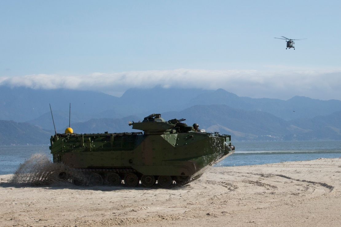 A Brazilian amphibious assault vehicle conducts ship-to-shore operations in response to a simulated disaster relief situation during UNITAS LX at Ilha da Marambia, Brazil, Aug. 27, 2019. This equipment is used to aid in supporting humanitarian assistance and disaster relief scenarios. UNITAS is the world's longest-running, annual exercise and brings together multinational forces from 11 countries to include Brazil, Colombia, Peru, Chile, Argentina, Ecuador, Panama, Paraguay, Mexico, Great Britain and the United States. The exercise focuses in strengthening the existing regional partnerships and encourages establishing new relationships through the exchange of maritime mission-focused knowledge and expertise during multinational training operations.