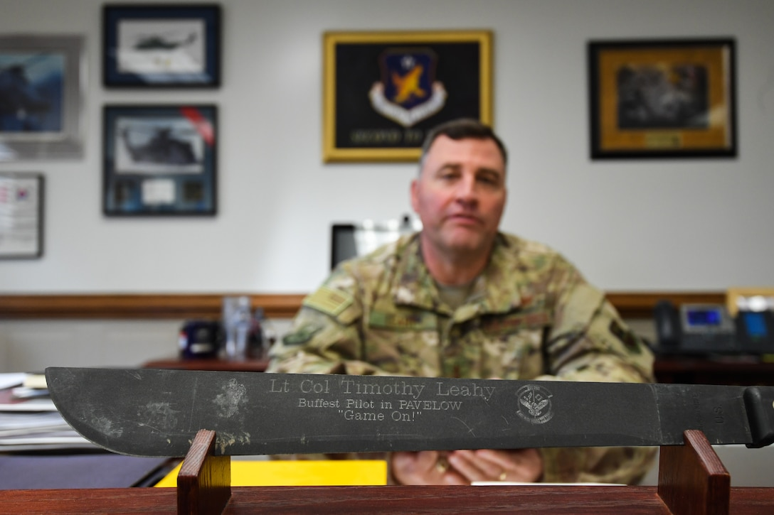 U.S. Air Force Maj. Gen. Timothy Leahy, Second Air Force commander, poses for a photo at his desk on Keesler Air Force Base, Mississippi, Aug. 14, 2019. Leahy will retire on Dec. 1 with more than 34 years of military service. Throughout his career, Leahy held positions at the major command, sub-unified combatant command and geographic and functional combatant command levels. He also commanded at the squadron, wing, center and numbered Air Force level. Additionally, Leahy is a command pilot with more than 3,200 hours of flight time, primarily in Special Operations Forces aircraft. (U.S. Air Force photo by Airman 1st Class Spencer Tobler)