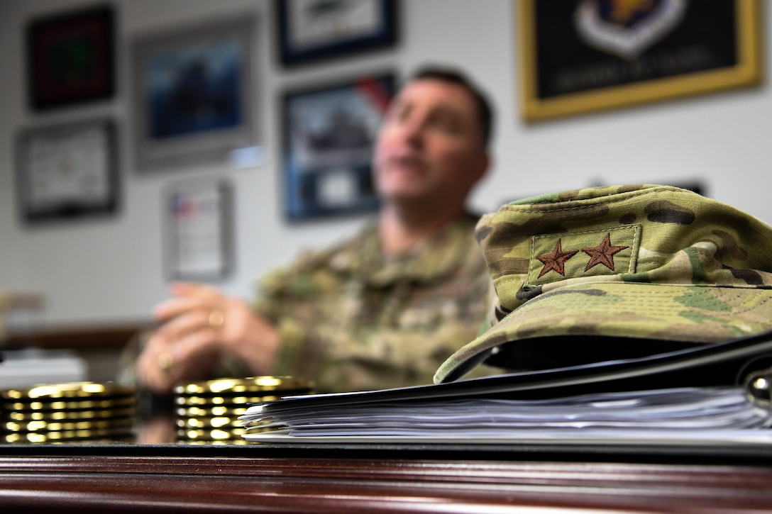A hat belonging to U.S. Air Force Maj. Gen. Timothy Leahy, Second Air Force commander, is on display during an interview inside his office on Keesler Air Force Base, Mississippi, Aug. 14, 2019. Leahy will retire on Dec. 1 with more than 34 years of military service. Throughout his career, Leahy held positions at the major command, sub-unified combatant command and geographic and functional combatant command levels. He also commanded at the squadron, wing, center and numbered Air Force level. Additionally, Leahy is a command pilot with more than 3,200 hours of flight time, primarily in Special Operations Forces aircraft. (U.S. Air Force photo by Airman 1st Class Spencer Tobler)
