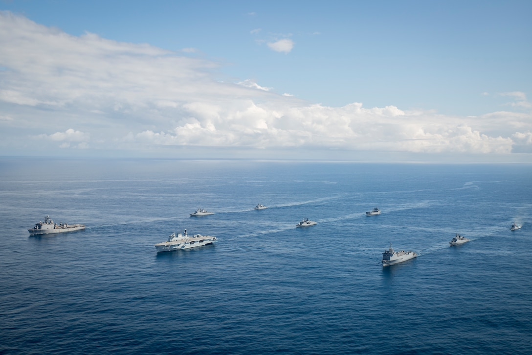 Naval ships from Brazil, Peru, Argentina and the United States conduct naval formations during a training exercise for UNITAS LX in Brazil Aug. 24, 2019. The exercise was done to test interoperability and communication between the partner nations. UNITAS is the world's longest-running, annual exercise and brings together multinational forces from 11 countries to include Brazil, Colombia, Peru, Chile, Argentina, Ecuador, Panama, Paraguay, Mexico, Great Britain and the United States. The exercise focuses in strengthening the existing regional partnerships and encourages establishing new relationships through the exchange of maritime mission-focused knowledge and expertise during multinational training operations.