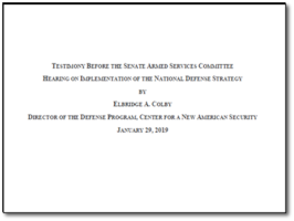 Bridge Colby: SASC Testimony on the National Defense Strategy