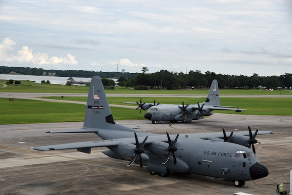 A WC-130J Super Hercules from the 53rd Weather Reconnaissance Squadron, aka Hurricane Hunters, taxis to the runway Aug. 25, 2019 at Keesler Air Force Base, Mississippi. The Hurricane Hunters staged their aircraft in Curacao and began flying into Tropical Storm Dorian Monday night.