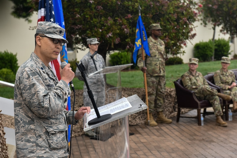 Lt. Col. Joseph Rountree, 30th Health Care Operations Squadron commander, provides remarks during the 30th Medical Group reorganization ceremony Aug. 23, 2019, at Vandenberg Air Force Base, Calif.