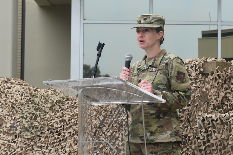 Lt. Col. Heidi Clark, 30th Operational Medical Readiness Squadron commander, speaks during the 30th Medical Group reorganization ceremony Aug. 23, 2019, at Vandenberg Air Force Base, Calif.