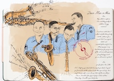 U.S. Air Force Band of the Pacific members received a piece of artwork after one of their performances. (Courtesy photo)