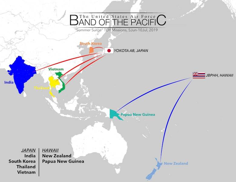 A graphic illustration of where U.S. Air Force Band of the Pacific members traveled to in a span of 30 days. (U.S. Air Force graphic Tech. Sgt. Patrick Brush)