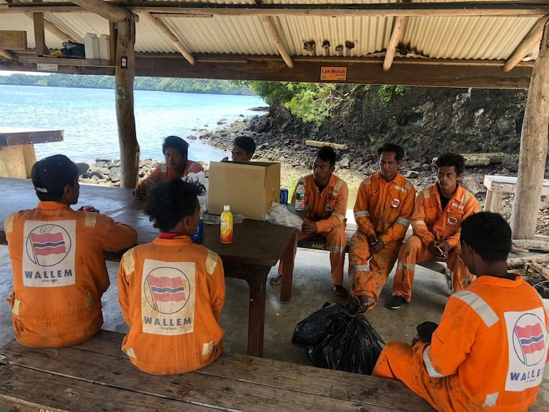 The crew of the Indonesian-flagged vessel KM Aleluya safe in Palau after being rescued by the AMVER vessel Isl Star, Aug. 14, 2019.