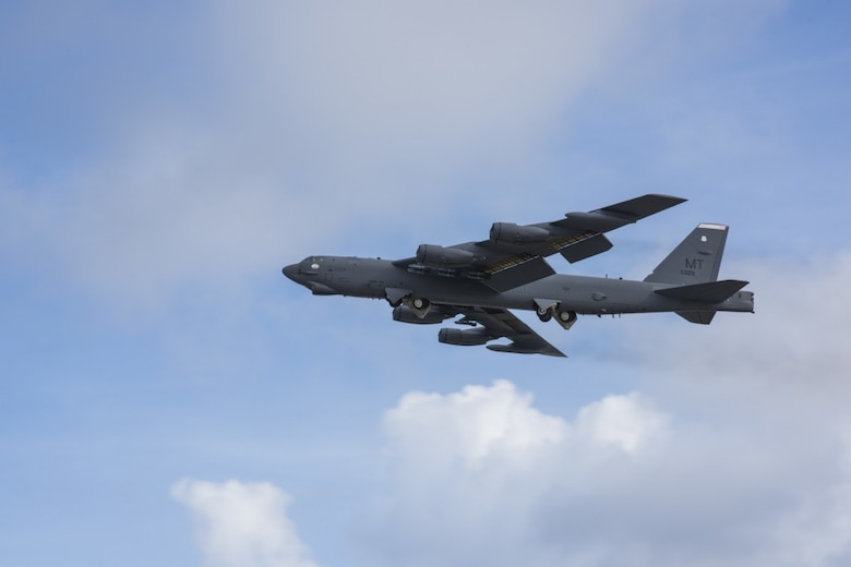 A B-52 Stratofortress from the 69th Expeditionary Bomber Squadron takes off from Andersen Air Force Base, Guam Aug. 13, 2019.