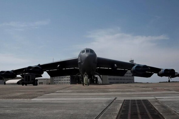 A B-52 from Barksdale Air Force Base, La. sits on the ramp at Eglin Air Force Base, Fla. on July 30, 2016. Aircrew brought the 53rd Wing bombers to allow wing personnel an opportunity to see one of their geographically separated aircraft up close. (U.S. Army photo/SGT Michael Parnell)