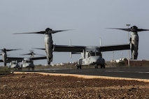 U.S. Marine Corps MV-22B Ospreys with Special Purpose Marine Air-Ground Task Force-Crisis-Response-Africa 19.2, Marine Forces Europe and Africa, arrive at a cooperative security location in Dakar, Senegal, Aug. 1, 2019. SPMAGTF-CR-AF activated the CSL to exercise forward-staging crisis response forces in Africa and rehearse responding to notional crises. (U.S. Marine Corps photo by Cpl. Margaret Gale)