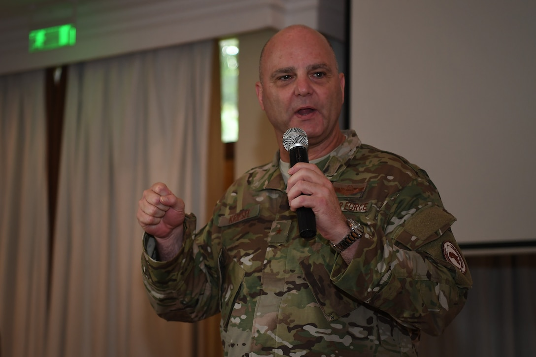 Brig. Gen. James R. Kriesel, Combined Joint Task Force—Horn of Africa deputy commanding general, gives closing remarks for African Partnership Flight Kenya 2019, Nanyuki, Kenya, August 25, 2019.