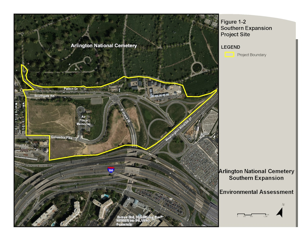 Figure 1-2 Southern Expansion Project Site,  Arlington National Cemetery Southern Expansion Environmental Assessment