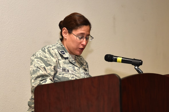 U.S. Air Force Capt. Alicia Delia, 315th Training Squadron targeting analyst course flight commander, shares some history about the establishment of the observance during the Women's Equality Day Event at the event center on Goodfellow Air Force Base, Texas, August 26, 2019. In 1973, Congress designated August 26 as Women's Equality Day to commemorate the certification of the 19th Amendment to the U.S. Constitution, granting women the right to vote in 1920. (U.S. Air Force photo by Senior Airman Seraiah Wolf/Released)
