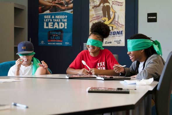 Team Shaw children participate in a blind taste test during a week-long Youth Resiliency Camp at Shaw Air Force Base, South Carolina, July 31, 2019.