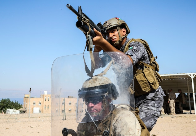 Marines with 4th Law Enforcement Battalion and Marines with the Jordanian 77th Marines Battalion conducted numerous bilateral training evolutions ranging from simulated crowd control to firing non-lethal munitions as part of Exercise Eager Lion 2019.  Eager Lion, U.S. Central Command's largest and most complex exercise, is an opportunity to integrate forces in a multilateral environment, operate in realistic terrain, and strengthen military-to-military relationship. (U.S. Marine Corps photo by SSgt. Anne K. Henry)