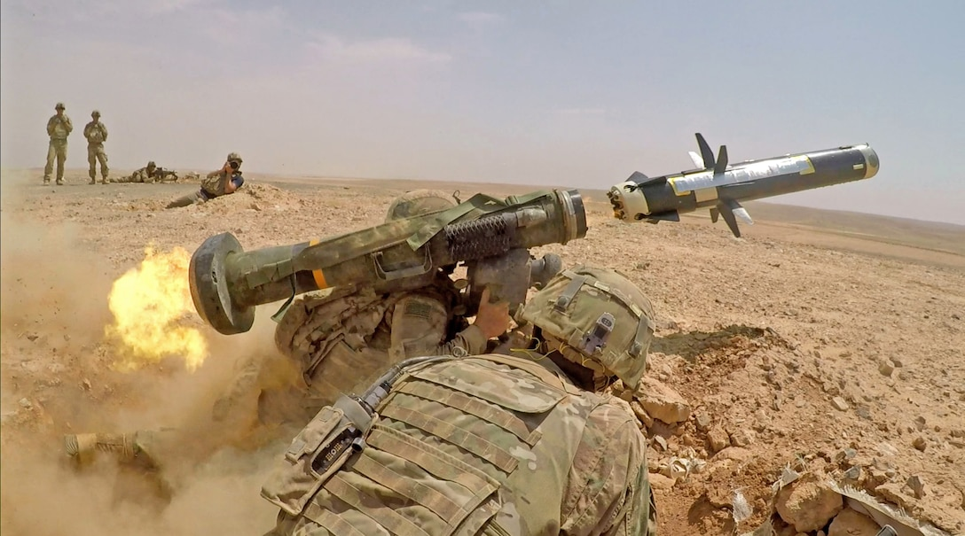Infantry Soldiers with 1st Battalion, 8th Infantry Regiment, 3rd Armored Brigade Combat Team, 4th Infantry Division, fire an FGM-148 Javelin during a combined arms live fire exercise in Jordan on August 27, 2019, in support of Eager Lion. Eager Lion, U.S. Central Command's largest and most complex exercise, is an opportunity to integrate forces in a multilateral environment, operate in realistic terrain and strengthen military-to-military relationships. (U.S. Army photo by Sgt. Liane Hatch)