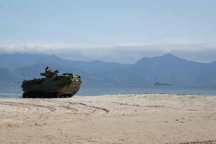 A Brazilian amphibious assault vehicle conducts ship-to-shore operations.