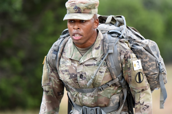 Army Staff Sgt. Earnest J. Knight II, Drill Sergeant Academy, on a ruck march.