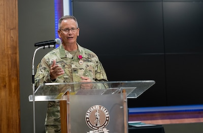 Col. Rodney Thacker thanks his friends and family who attended his retirement ceremony Aug. 23.