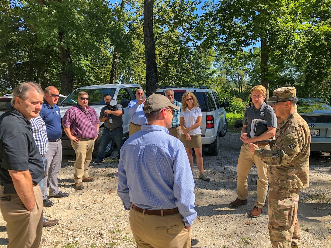 Mississippi Valley Division Commander Maj. Gen. Mark Toy at the St.  Louis Riverfront meeting with partners from the Nature Conservancy, EPA Region 7, Missouri Department of Natural Resources and the Missouri Fish and Wildlife Services to discuss ecosystem and habitat restoration.