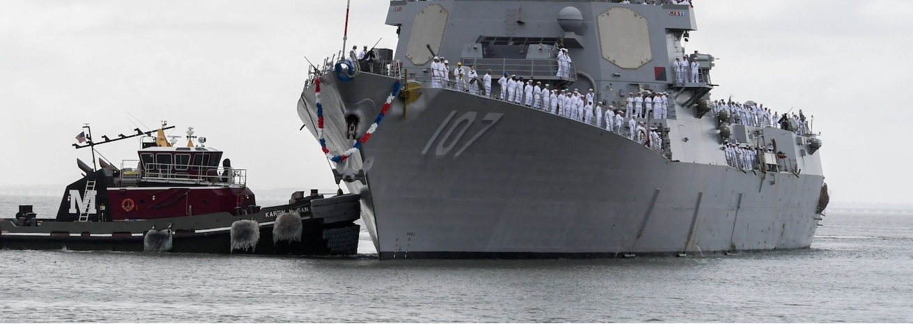 The guided-missile destroyer USS Gravely (DDG 107) returns to Naval Station Norfolk following a seven-month deployment.