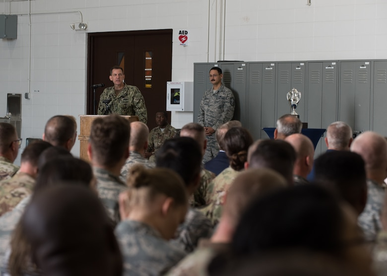 U.S. Navy Vice Adm. Dave Kriete, deputy commander of U.S. Strategic Command speaks to Airmen during the Omaha Trophy presentation Aug. 27, 2019, at Whiteman Air Force Base, Missouri. The Omaha Trophy is awarded to units for excellence in strategic deterrence and support of global strike operations. The active-duty 509th Bomb Wing and Missouri Air National Guard's 131st Bomb Wing jointly earned the Omaha Trophy because of their interoperability to execute one of the country's most important national security missions: nuclear deterrence by utilizing the B-2 Spirit stealth bomber to deter adversaries and assure our allies. (U.S. Air Force photo by Airman 1st Class Parker J. McCauley)