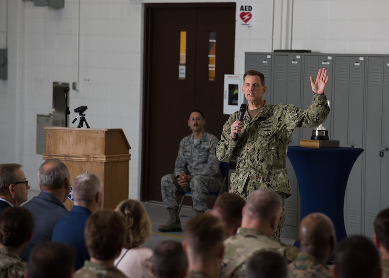 U.S. Navy Vice Adm. Dave Kriete, deputy commander of U.S. Strategic Command speaks to Airmen during the Omaha Trophy presentation Aug. 27, 2019, at Whiteman Air Force Base, Missouri. The Omaha Trophy is awarded by the Strategic Command Consultation Committee to units for excellence in strategic deterrence and support of global strike operations. The active-duty 509th Bomb Wing and Missouri Air National Guard's 131st Bomb Wing jointly earned the Omaha Trophy for executing the best Strategic Bomber Operations of 2018. (U.S. Air Force photo by Airman 1st Class Parker J. McCauley)