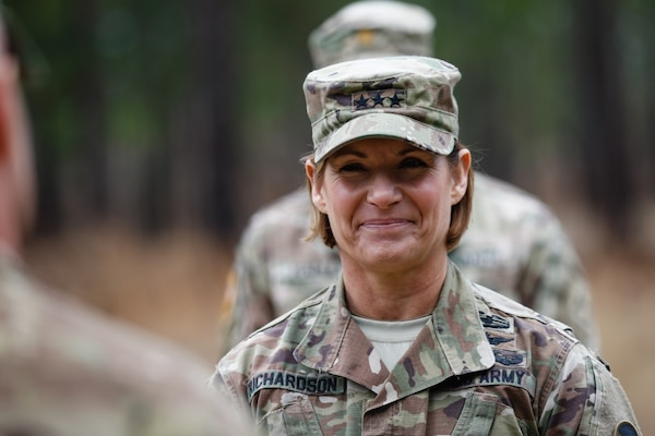 Lt. Gen. Laura Richardson, shown earlier this year during her stint as acting commanding general of U.S. Army Forces Command, met with Army senior leaders including former Army Secretary Mark Esper (now Secretary of Defense). Richardson is married to fellow lieutenant general and Army aviator James Richardson, and is nor commanding general of U.S. Army North (Fifth Army) at Joint Base San Antonio-Fort Sam Houston.