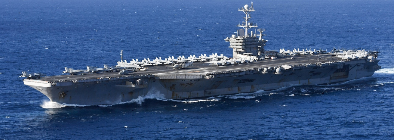 The Nimitz-class aircraft carrier USS Harry S. Truman (CVN 75) transits the Atlantic Ocean.
