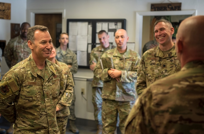 U.S. Air Force Maj. Gen. Chad Franks, Ninth Air Force commander, visits with 733rd Logistic Readiness Squadron fuels management flight Airmen at Joint Base Langley-Eustis, Virginia, August 26, 2019.